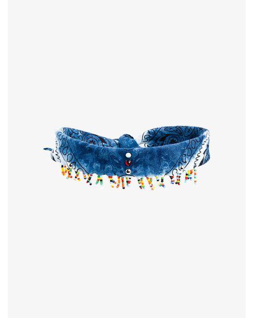 DANNIJO - Blue Beaded Scarf Choker Necklace - Lyst