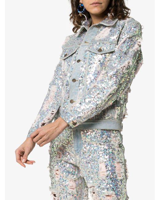 10cfa737 ... Ashish - Metallic Sequin Embellished Ripped Denim Jacket - Lyst ...