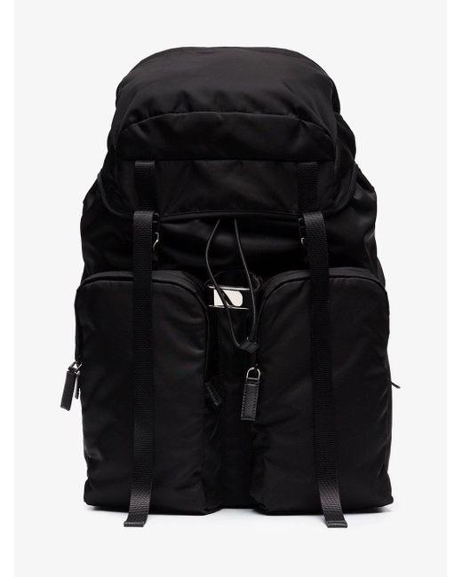 194ad884a420 ... sale prada black zip pocket shoulder bag for men lyst e8e81 d9280