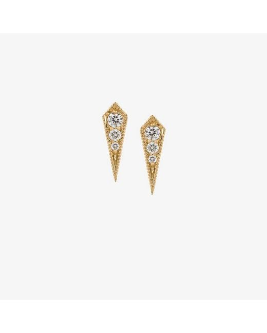 Lizzie Mandler - Metallic 18kt Gold 'kite' Diamond Stud Earrings - Lyst
