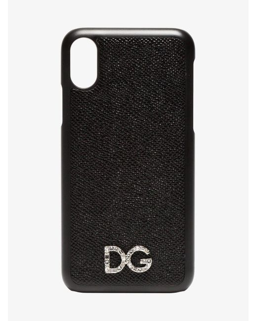 ac76c51cc059 Lyst - Dolce   Gabbana Black Textured Leather Iphone X Case in Black
