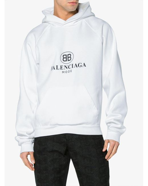 4c815b8e6be Balenciaga Bb Mode Hoodie in White for Men - Save 13% - Lyst