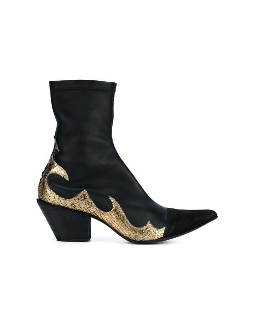haider ackermann leather cowboy boots in gold black gold