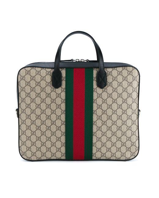 Gucci Web Gg Supreme Laptop Bag In Black For Men Black
