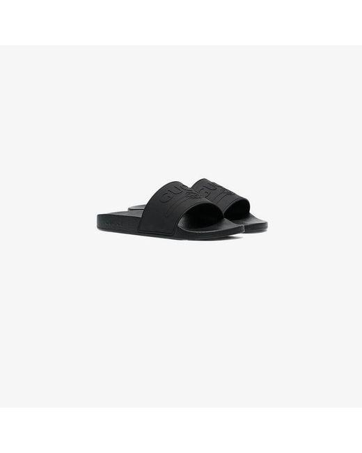 5fffd4e71664 Gucci - Black Logo Rubber Slide Sandal for Men - Lyst ...
