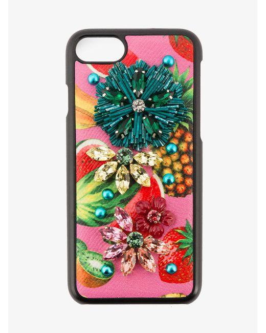 Dolce & Gabbana - Black Tropical Fruit Embellished Iphone 6 Case - Lyst