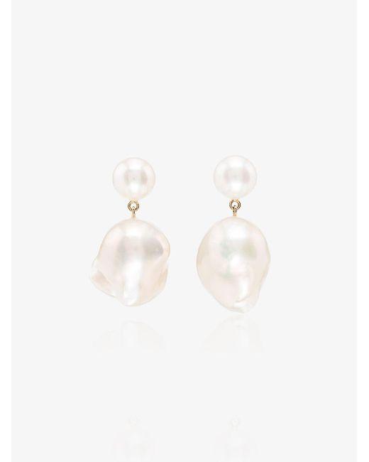 Sophie Bille Brahe Metallic 14kt Gold Venus Pearl Drop Earrings