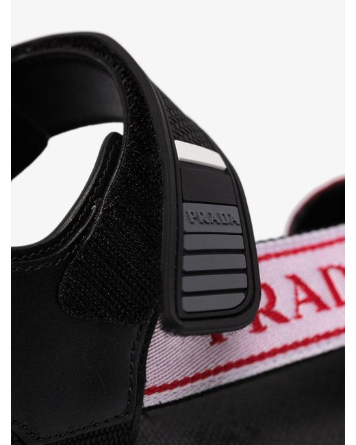 Prada Women's Black Nomad Logo Flat Sandals