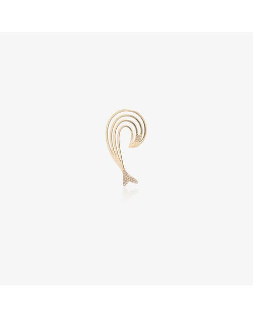 Yvonne Léon Metallic Diamond And 18k Yellow Gold Curve Dolphin Earring