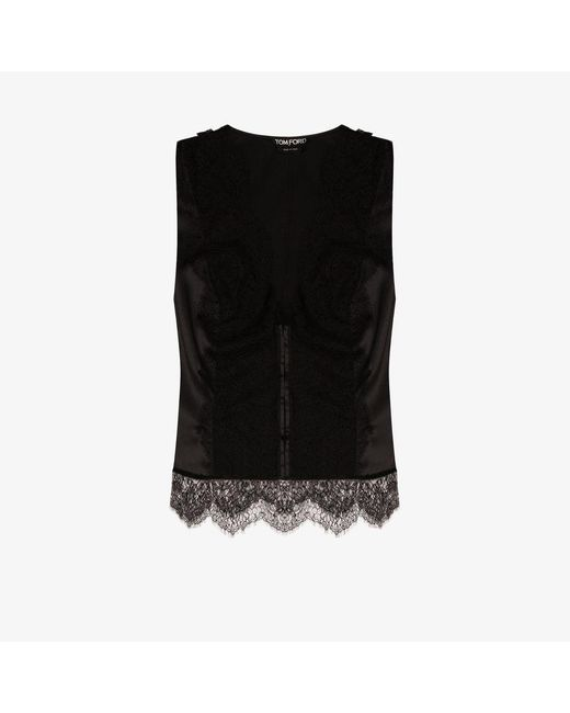 Tom Ford Black Lace Panel Stretch Silk Top