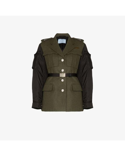 Prada Womens Green Two Tone Fitted Jacket