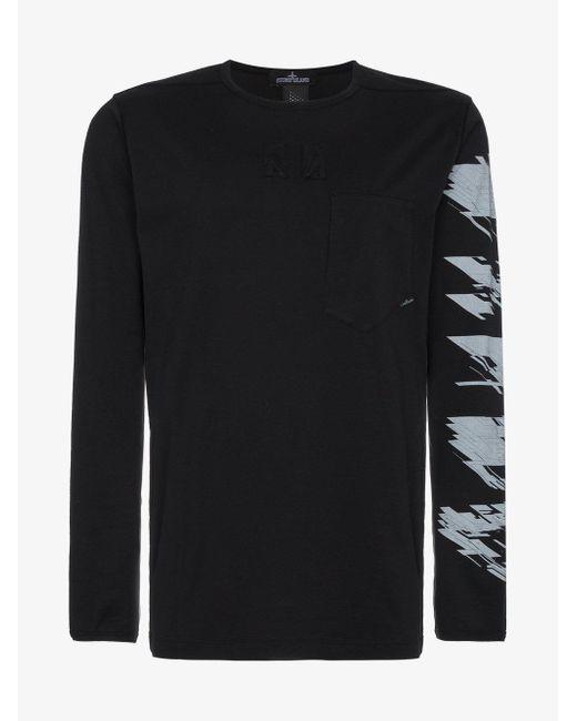 Stone Island - Black Logo Print Long Sleeve T Shirt for Men - Lyst