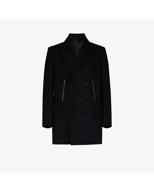 Tom Ford Cotton Leather Trim Peacoat In, Cotton Peacoat By Tom Ford