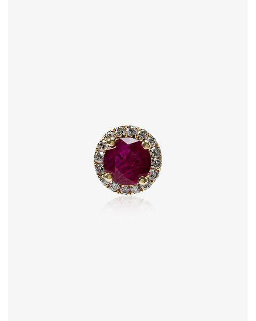 Rosa De La Cruz - Red Ruby White Diamond Single Stud Earring - Lyst