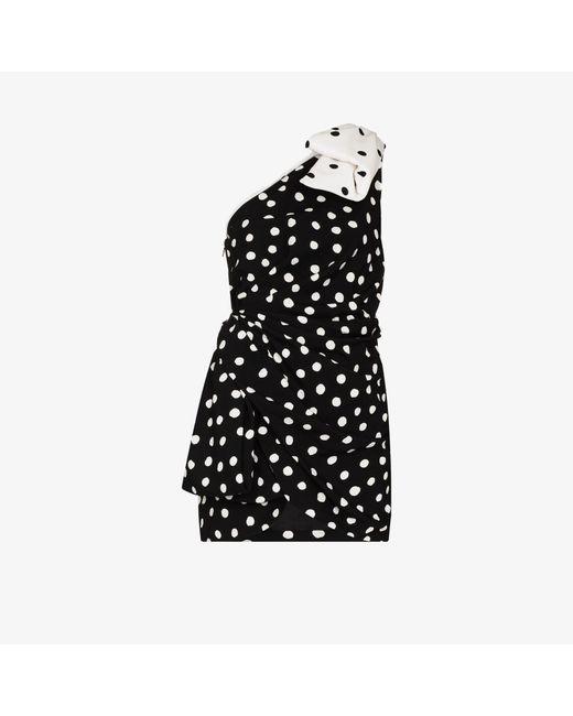 Saint Laurent Black One Shoulder Bow Mini Dress
