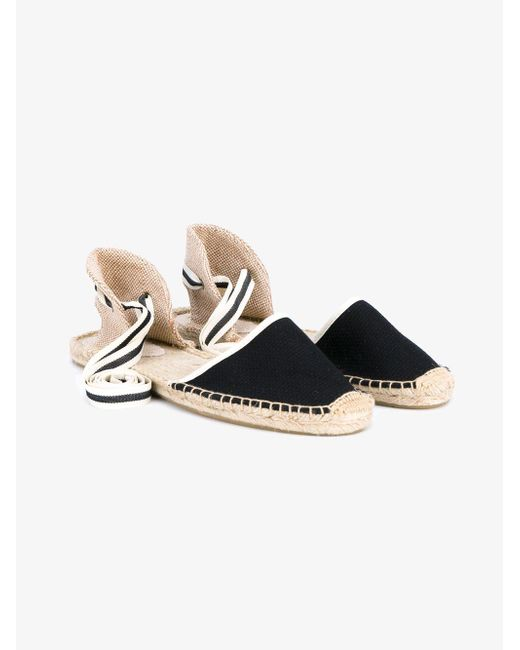 Soludos - Black Classic Ankle Tie Espadrille Flats - Lyst