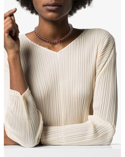 Loren Stewart Pink 14kt Gold Beaded Choker Necklace