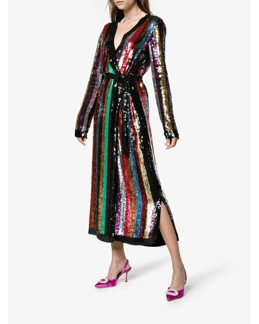 Attico All Over Striped Sequins Dress Save 54 Lyst