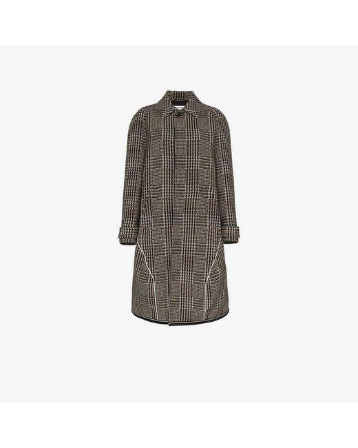 Balenciaga - Brown Knee Length Check Wool Blend Coat - Lyst