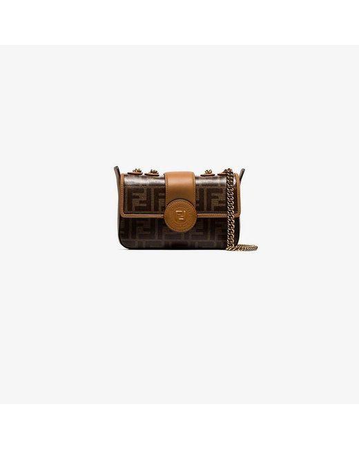 Lyst - Fendi Brown Ff Logo Leather Camera Bag in Brown 2f0e4f772a5e7