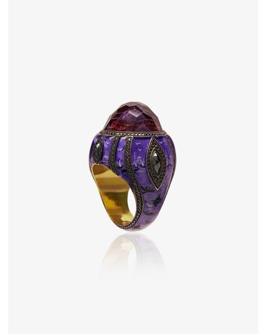 Sevan Biçakci Pink 24k Gold, Black And Purple Ottoman Architecture-inspired Diamond And Amethyst Ring