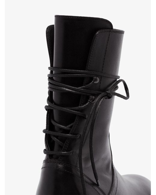 Ann Demeulemeester Black Rear Lace-up Leather Boots