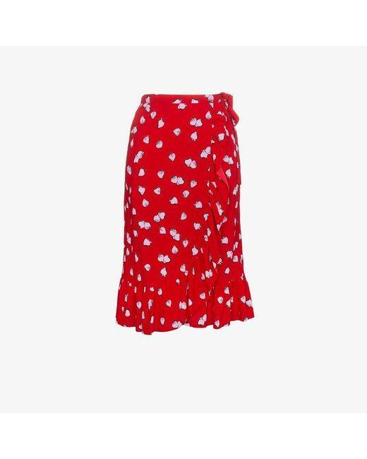 Miu Miu - Red Strawberry Print Ruffle Wrap Skirt - Lyst