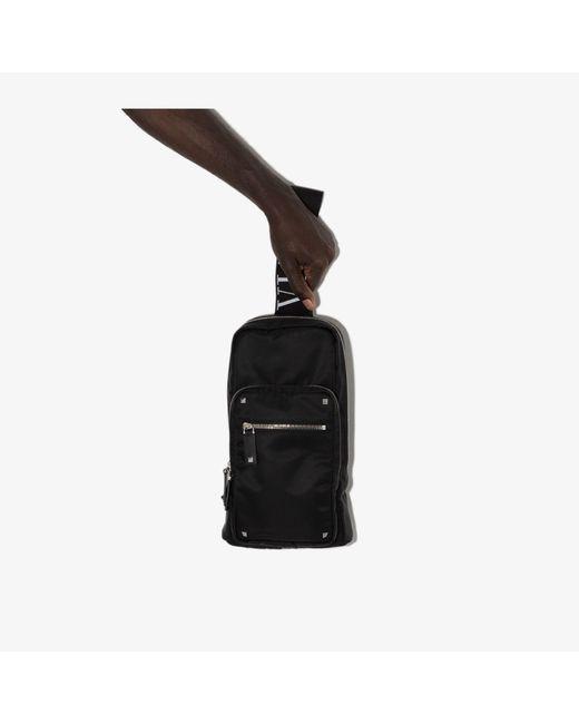 Valentino Garavani Black Rockstud Cross Body Bag for men