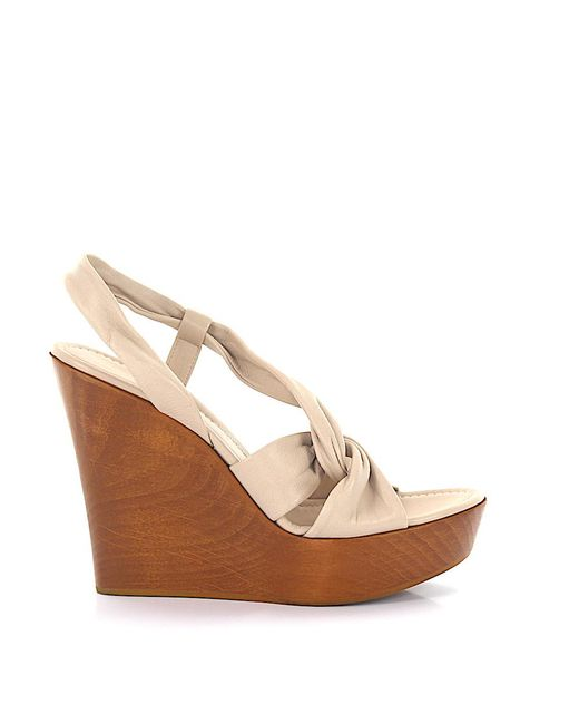 Gianvito Rossi Natural Sandals Calfskin Smooth Leather Wood Beige-combo Brown
