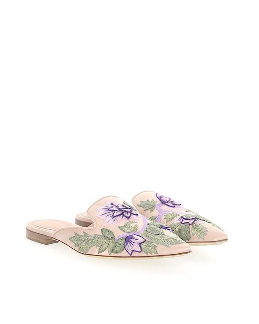 Alberta Ferretti Clogs MIA satin Embroidery Flower pattern v2tljZI
