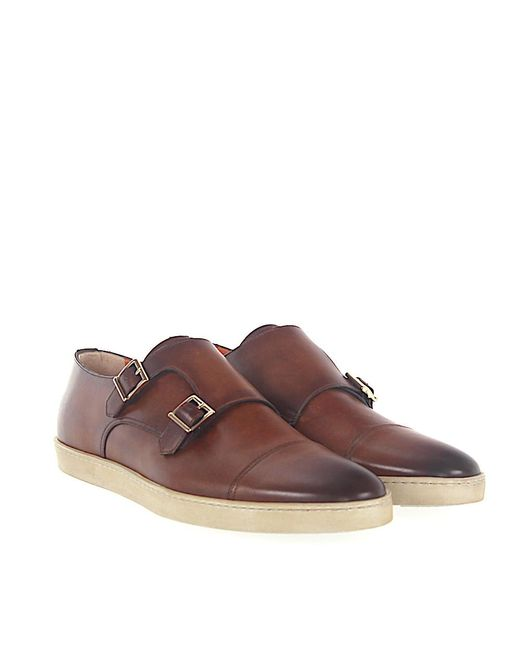 santoni Double-Monk-Strap 11652 leather brown goodyear welted 14Jxo
