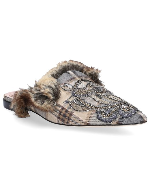 Alberta Ferretti - Gray Mules Mules Calfskin Cotton Wool Embroidery Grey - Lyst