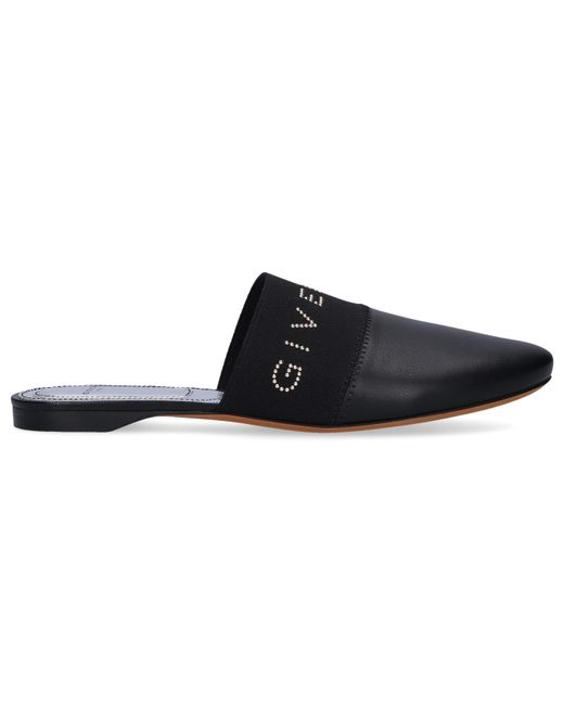 Givenchy Flat Bedford Sandals In Black Leather With Tone On Tone Elastic Band And White Logo.