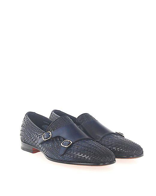 santoniDouble-Monk 15924 smooth leather Braiding Finished dark 0Iztf