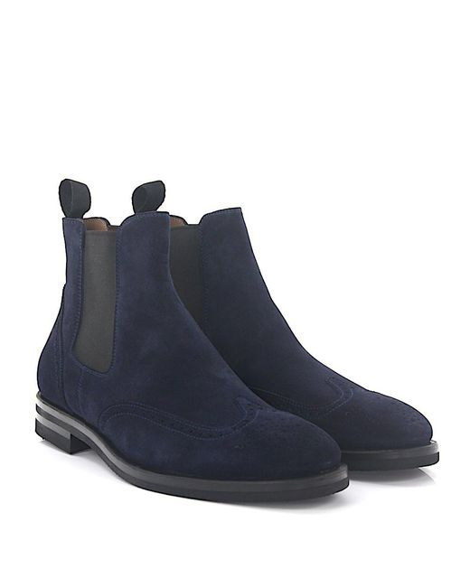 Henderson - Chelsea Boots 57506 Suede Blue Lyra-perforation for Men - Lyst