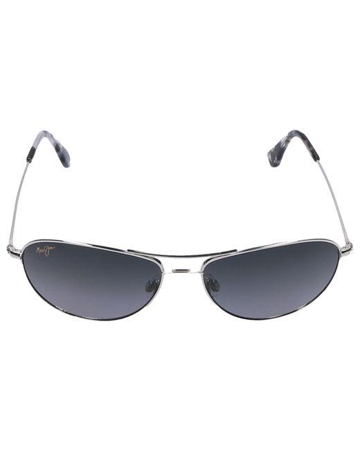 Maui Jim Metallic Sunglasses Aviador Baby Beach 17 Titan Silver for men