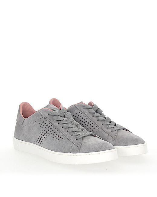 Tod's - Gray Sneaker A0t490 Veloursleder Grau Lochmuster - Lyst