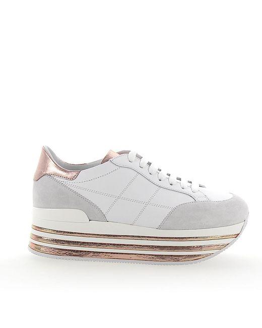 sports shoes 4ec5d 33cd3 Women's White Sneaker H349 Plateau Leder Veloursleder Weiss Leder Metallic  Rosè