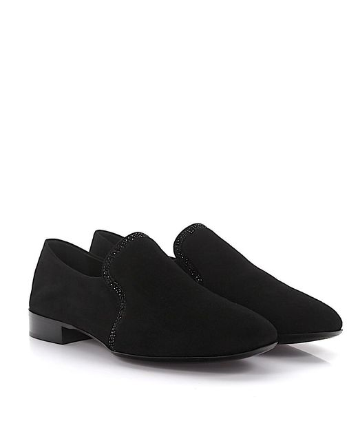 Slipper loafer Crystal Laurence suede black crystal embalished Giuseppe Zanotti ml1Z4fP