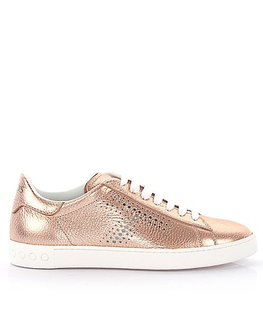 Tod's - Natural Sneaker Calfskin Smooth Leather Logo Rose - Lyst