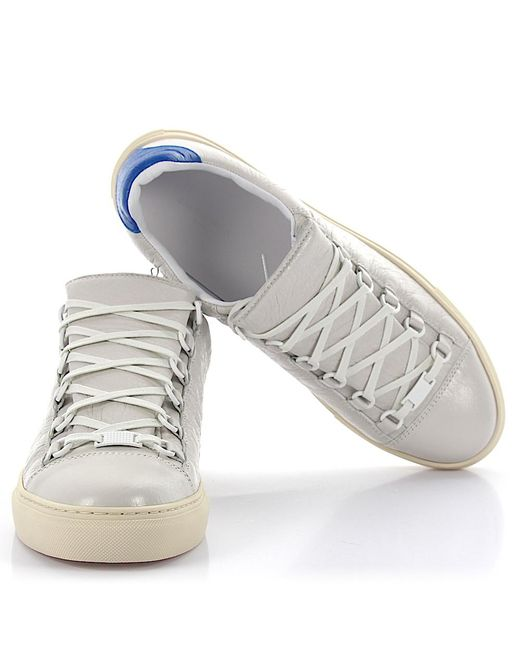 lyst balenciaga trainers arena leather white in white for men. Black Bedroom Furniture Sets. Home Design Ideas