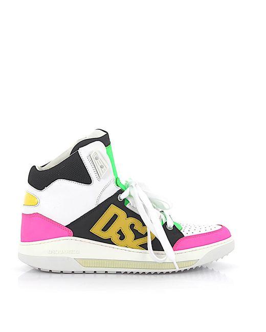 DSquared² White Schuhe Schnürer Glattleder Kalbsleder Nubukleder Textil Logo mehrfarbig