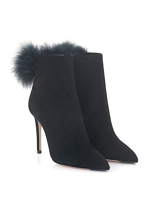 Jimmy Choo - High Heels Suede Fur Upper Pompom Black - Lyst