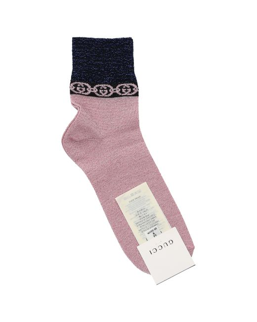 Gucci Pink Lamé GG Socks