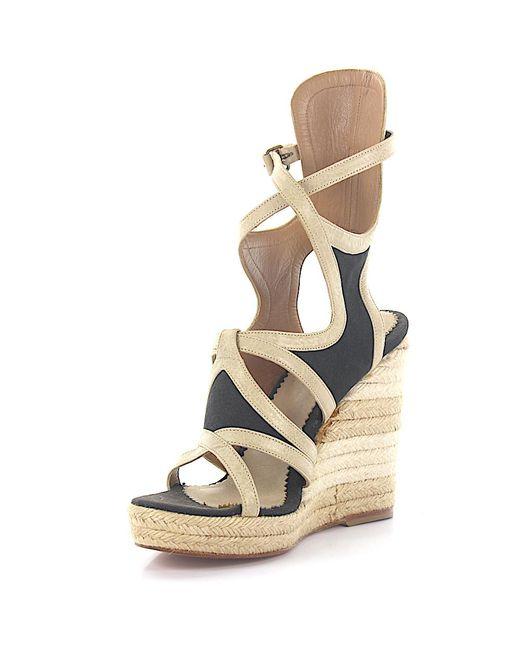 Balenciaga Natural Wedge Sandals Strap Leather Beige Fabric Black