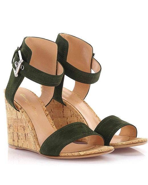 Gianvito Rossi - Wedge Sandals Suede Green Cork - Lyst
