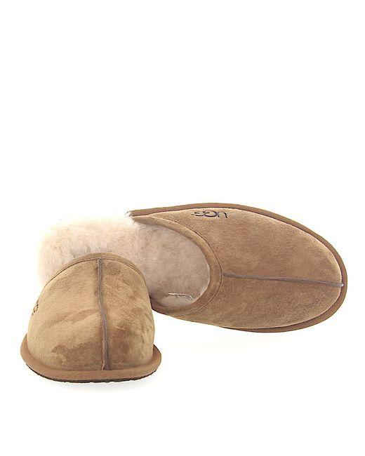 8de7fb377dbb ... Ugg - Natural House Slippers Scuff Suede Beige Lamb Fur for Men - Lyst  ...