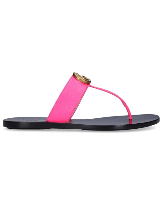 Gucci Pink Leather Thong Sandal With Double G