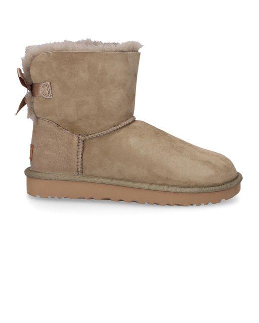 Ugg Green Ankle Boots Mini Bailey Bow Ii Lambskin Olive