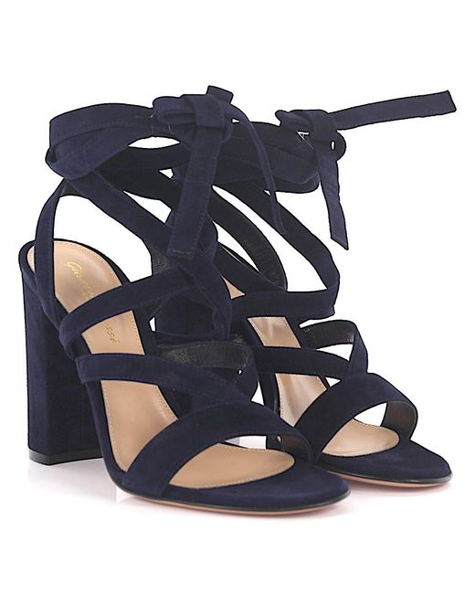 Gianvito Rossi - High Heel Sandals Janis Suede Blue - Lyst